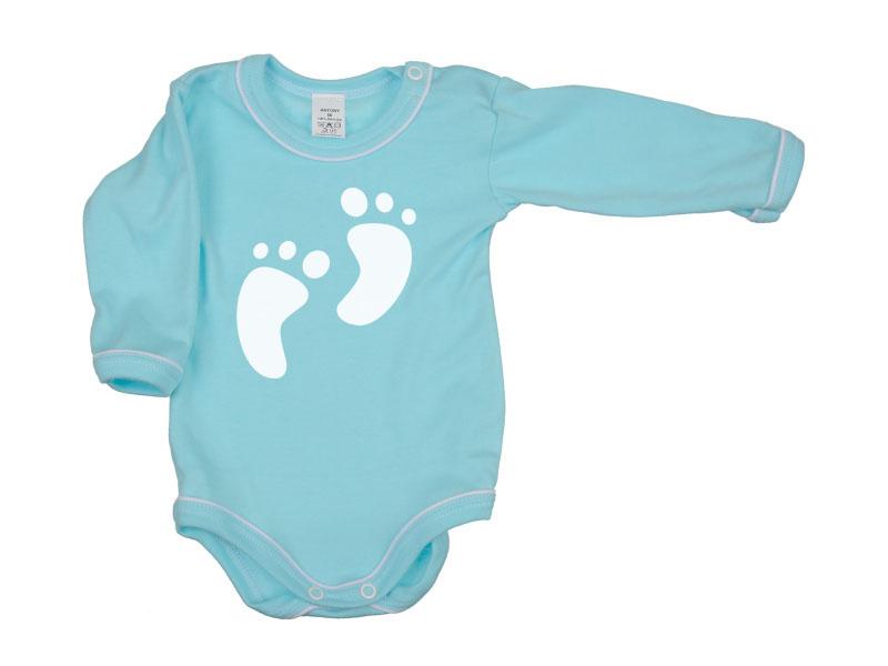 Body dlhý rukáv - Feet - tyrkysové - Veľkost: 104