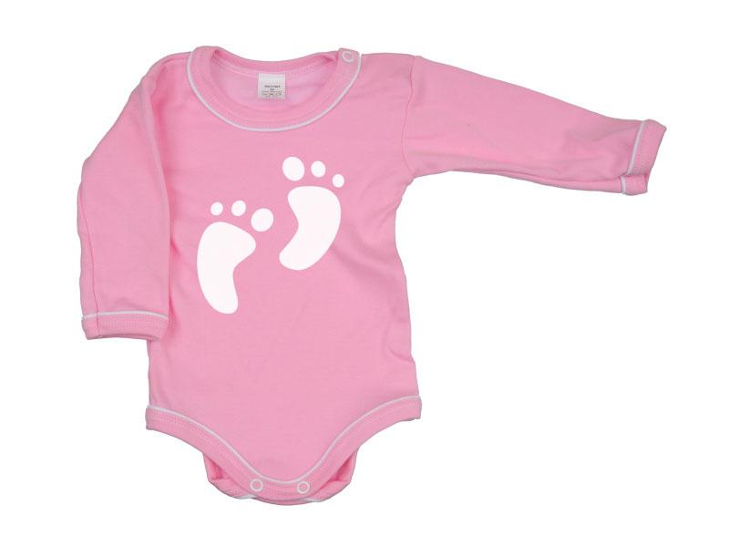 Body dlhý rukáv - Feet - ružové - Veľkost: 104