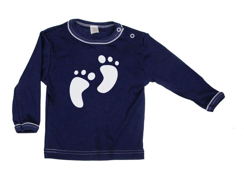 Tričko dlhý rukáv - Feet - tmavomodré - Veľkost: 122