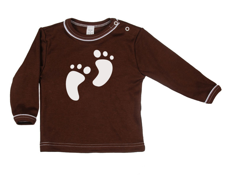Tričko dlhý rukáv - Feet - hnedé - Veľkost: 116