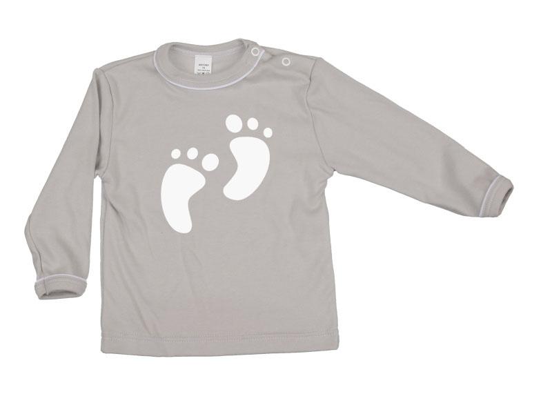 Tričko dlhý rukáv - Feet - šedé - Veľkost: 80