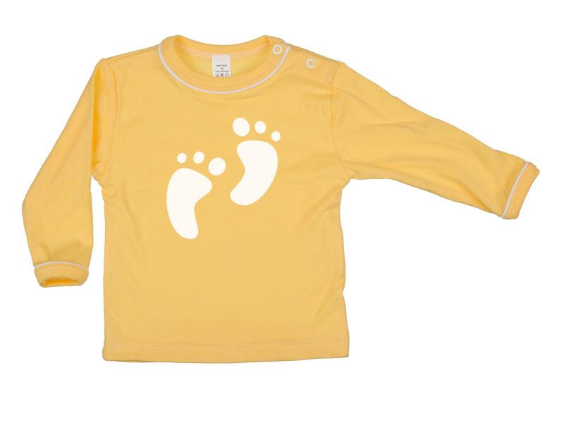 Tričko dlhý rukáv - Feet - tmavožlté - Veľkost: 128