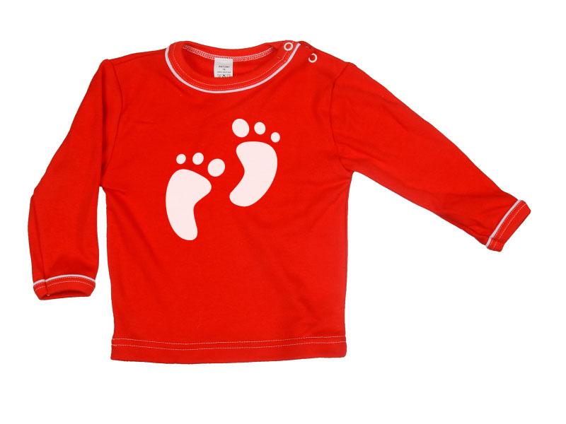 Tričko dlhý rukáv - Feet - červené - Veľkost: 128