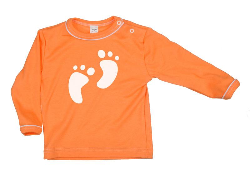 Tričko dlhý rukáv - Feet - oranžové - Veľkost: 128