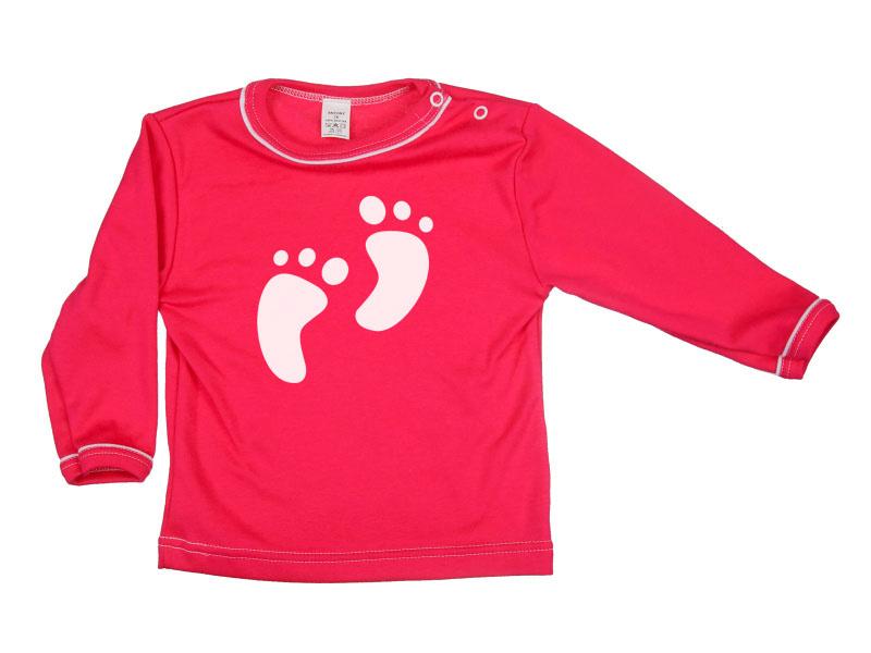 Tričko dlhý rukáv - Feet - malinové - Veľkost: 80