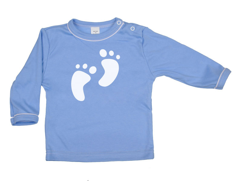 Tričko dlhý rukáv - Feet - modré - Veľkost: 128