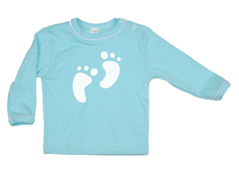 Tričko dlhý rukáv - Feet - tyrkysové - Veľkost: 80