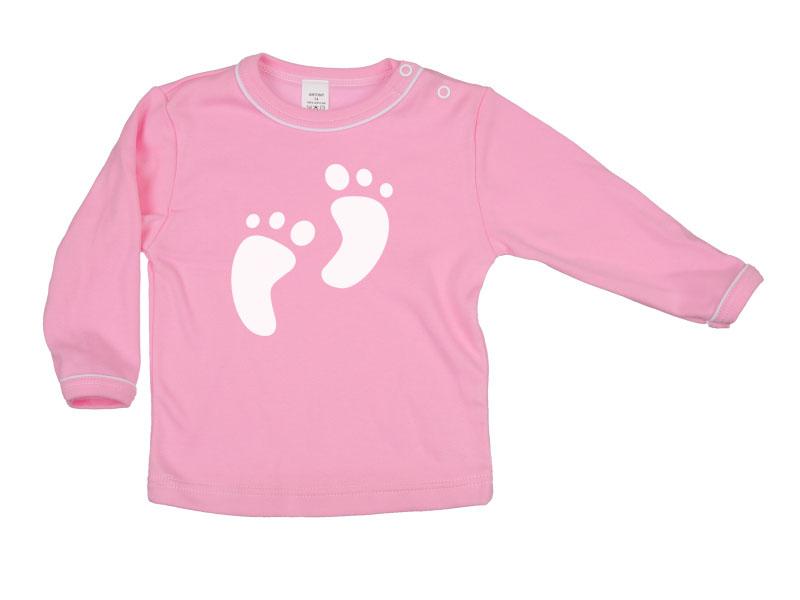 Tričko dlhý rukáv - Feet - ružové - Veľkost: 128