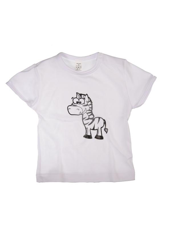 Tričko krátky rukáv - Zebra - biele - Veľkost: 98