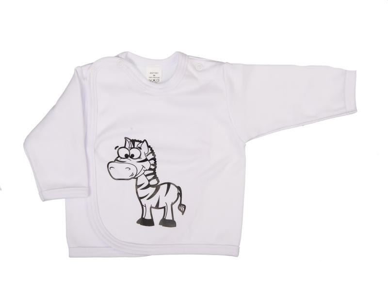 Prekladací kabátik - Zebra - biely - Veľkost: 62
