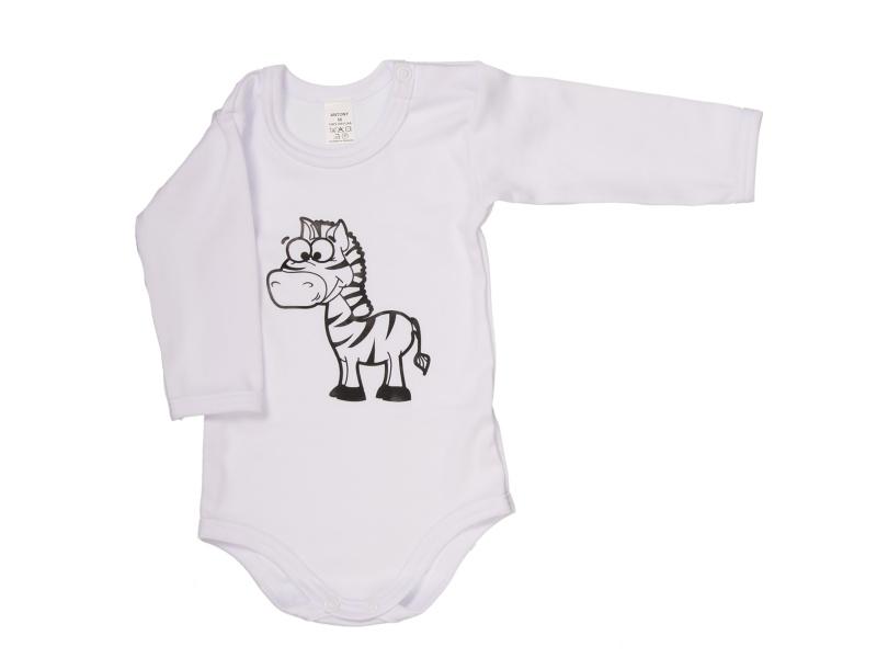Body s dlhým rukávom - Zebra - biele - Veľkost: 80