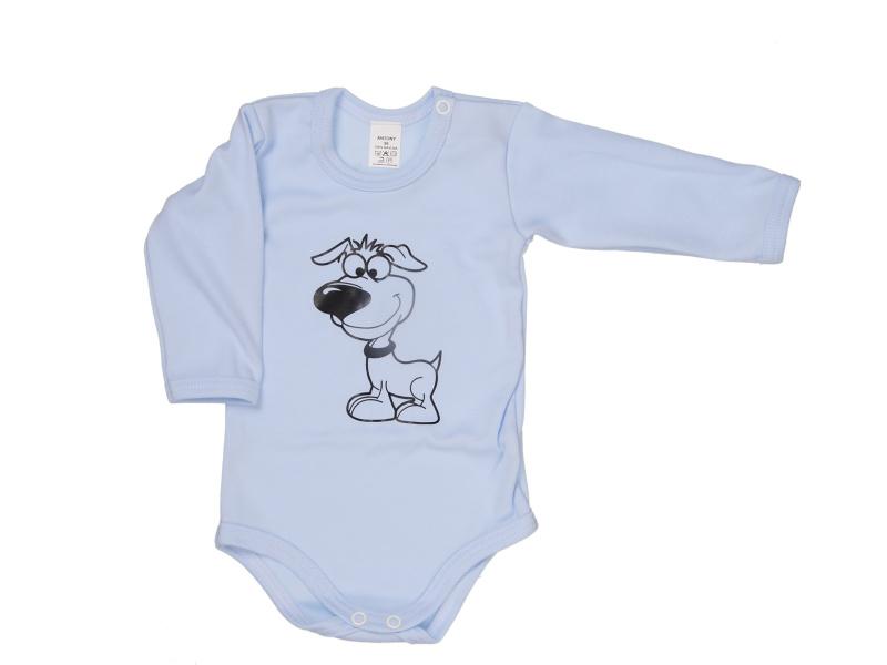 Body s dlhým rukávom - Pes - modré - Veľkost: 80