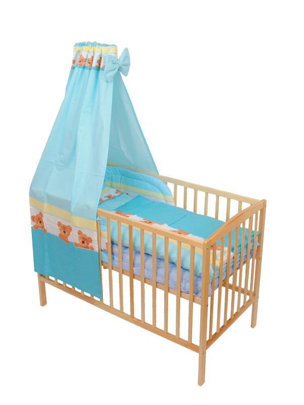 Štvordielna súprava - obliečky + mantinel + baldachýn (modrá) - Macík - Veľkost: 120x90 (paplón) + 40x60 (vankúš)
