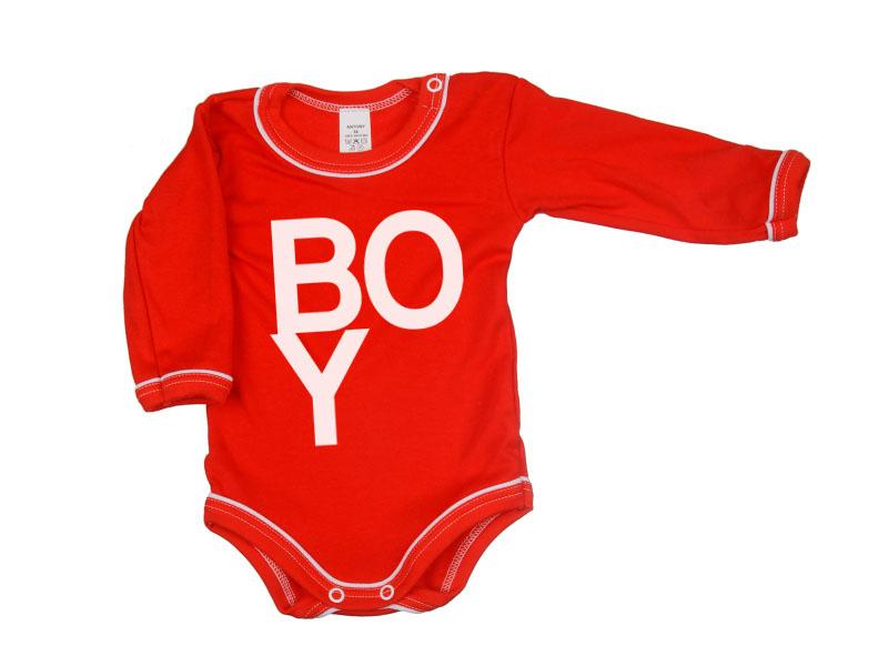 Body dlhý rukáv - Boy - červené - Veľkost: 80