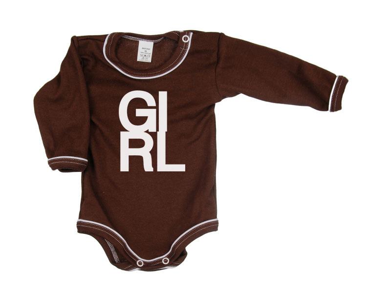 Body dlhý rukáv - Girl - hnedé - Veľkost: 104