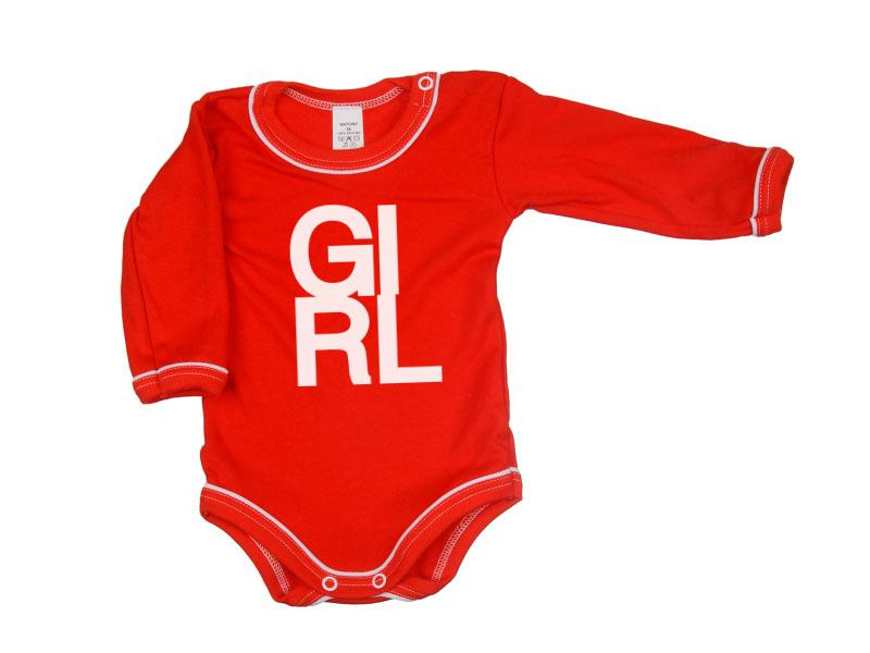 Body dlhý rukáv - Girl - červené - Veľkost: 104