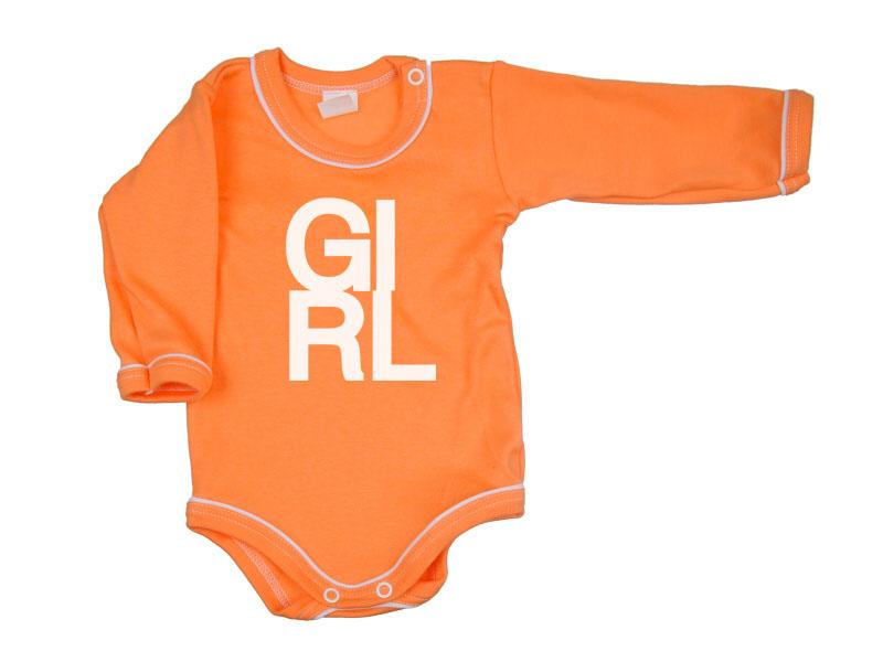 Body dlhý rukáv - Girl - oranžové - Veľkost: 104