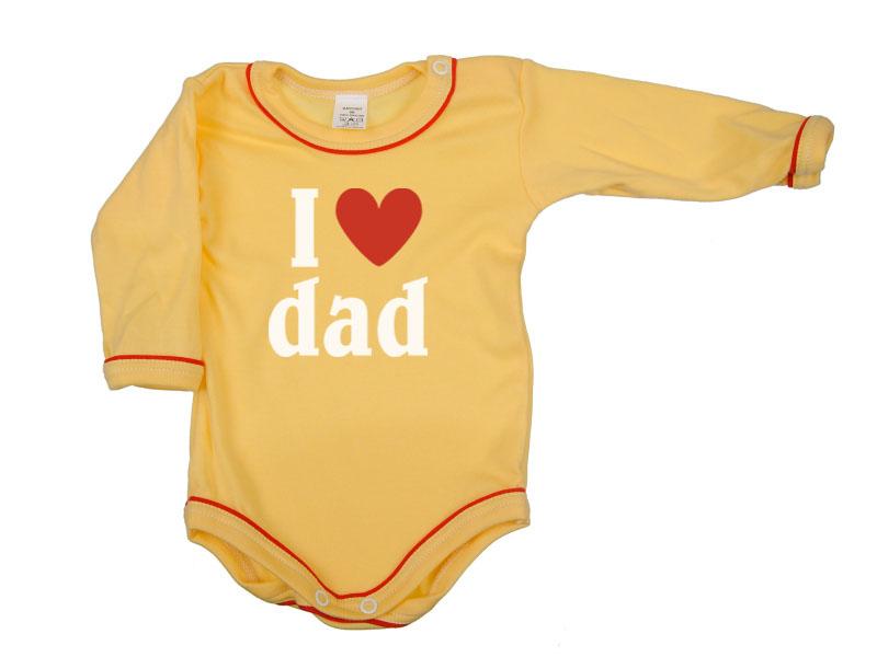 Body dlhý rukáv - Dad - žlté - Veľkost: 104