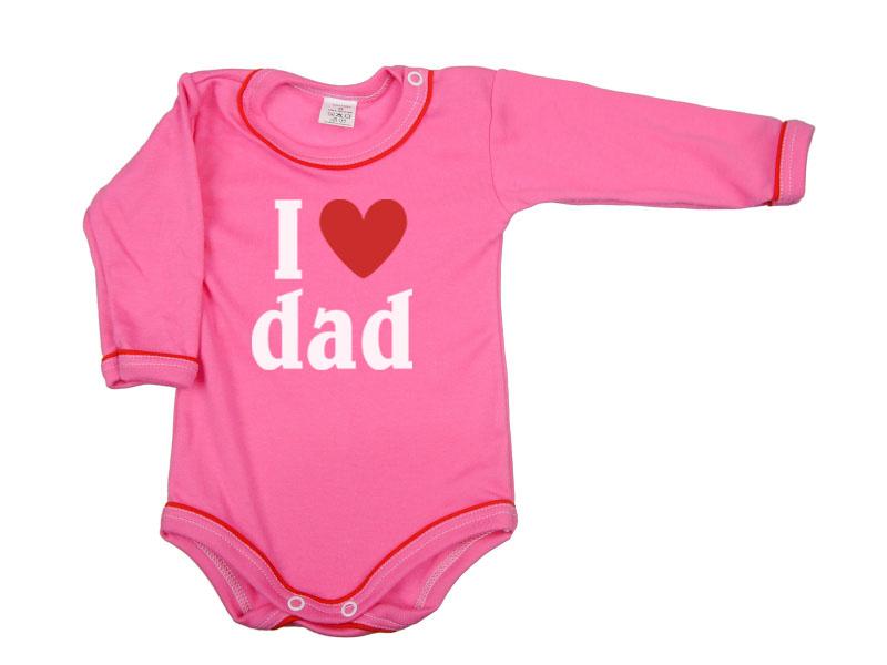 Body dlhý rukáv - Dad - malinové - Veľkost: 104
