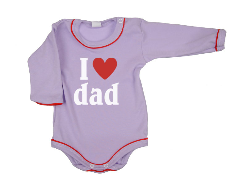 Body dlhý rukáv - Dad - fialové - Veľkost: 104