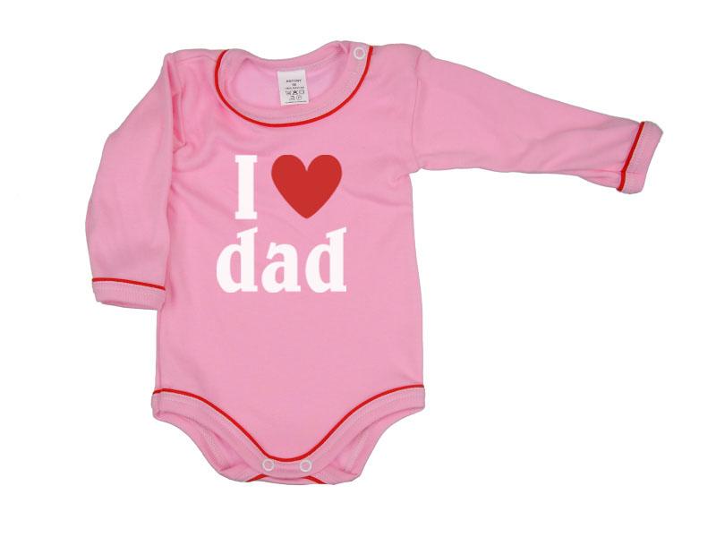 Body dlhý rukáv - Dad - ružové - Veľkost: 104