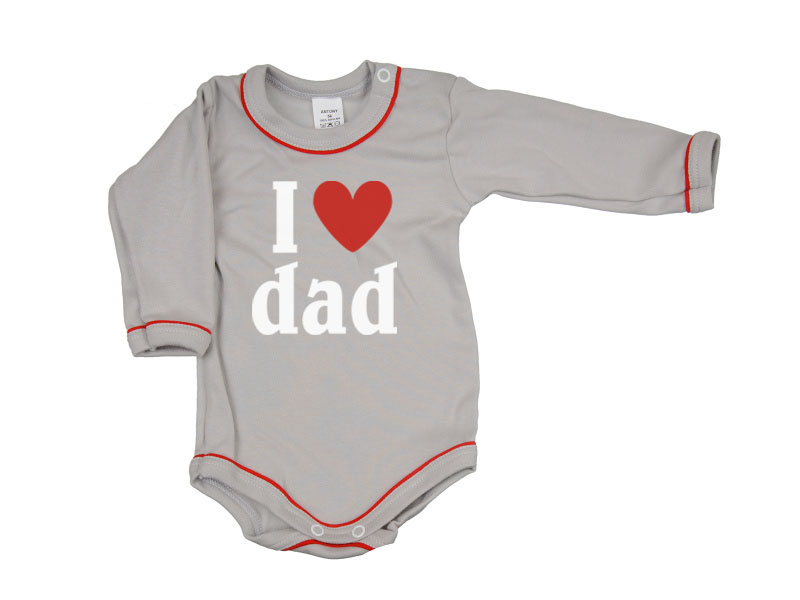 Body dlhý rukáv - Dad - šedé - Veľkost: 104