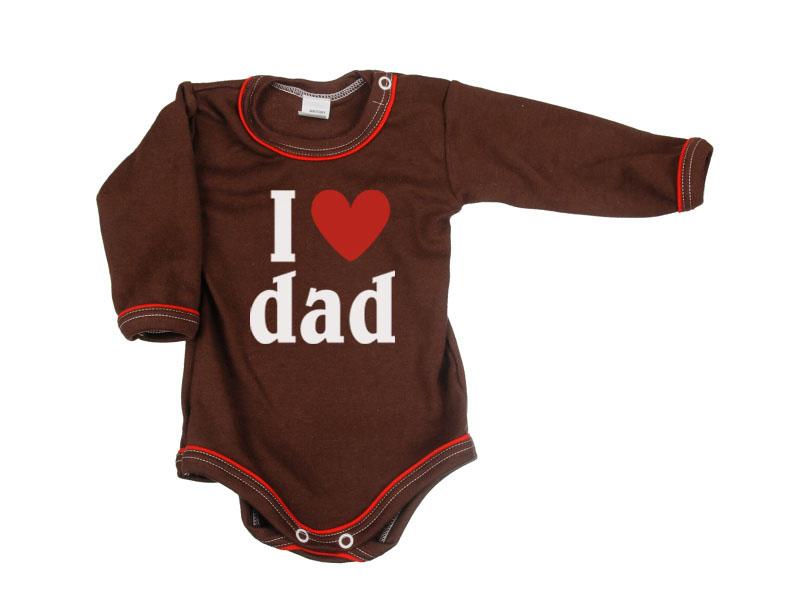 Body dlhý rukáv - Dad - hnedé - Veľkost: 104