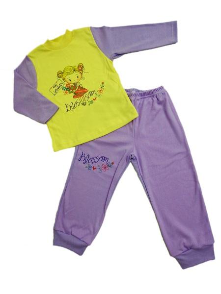 Pyžamo - dievčatko  - žlto-fialové - Veľkost: 86