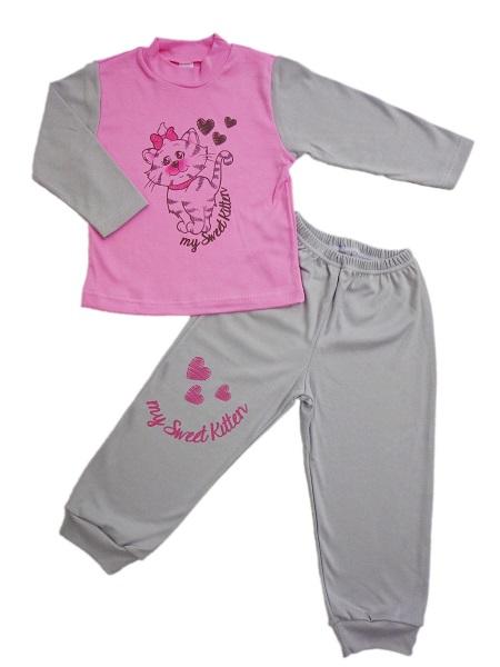 Pyžamo - mačička - šedo-ružové - Veľkost: 86