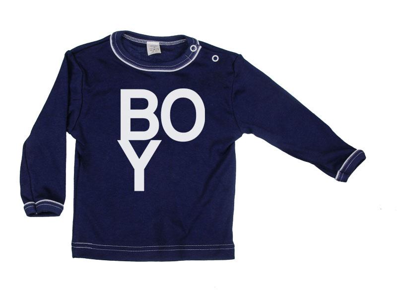 Tričko dlhý rukáv - Boy - tmavomodré - Veľkost: 80