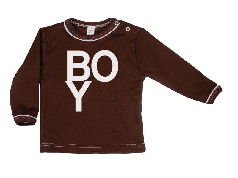 Tričko dlhý rukáv - Boy - hnedé - Veľkost: 128