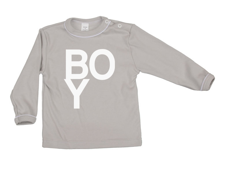 Tričko dlhý rukáv - Boy - šedé - Veľkost: 122