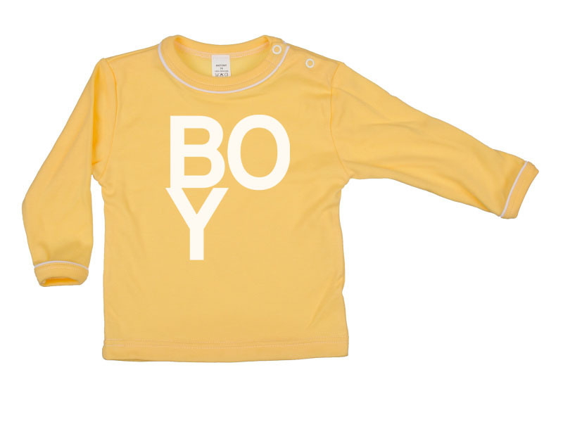 Tričko dlhý rukáv - Boy - tmavožlté - Veľkost: 116