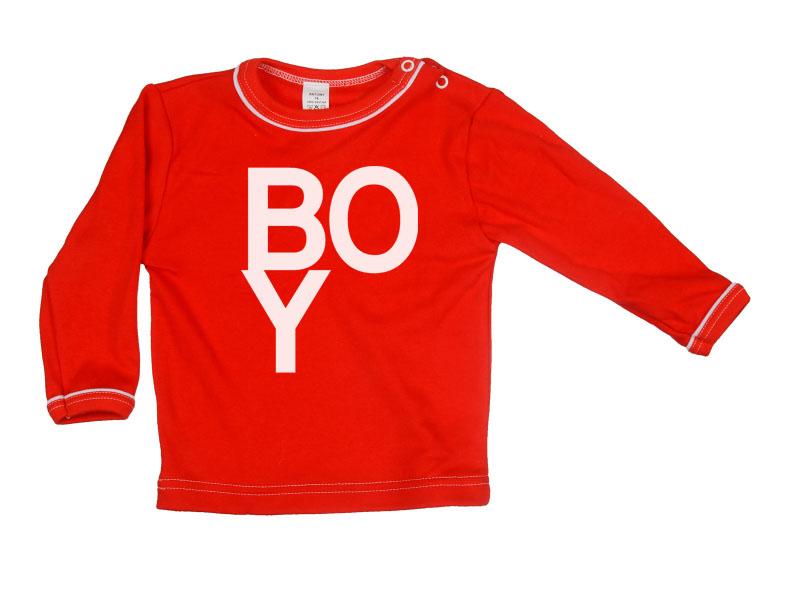 Tričko dlhý rukáv - Boy - červené - Veľkost: 128