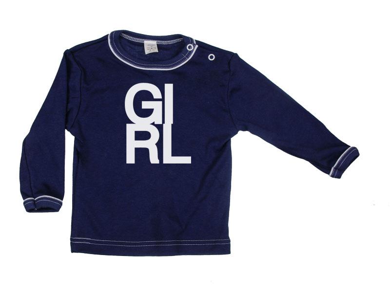 Tričko dlhý rukáv - Girl - tmavomodré - Veľkost: 80