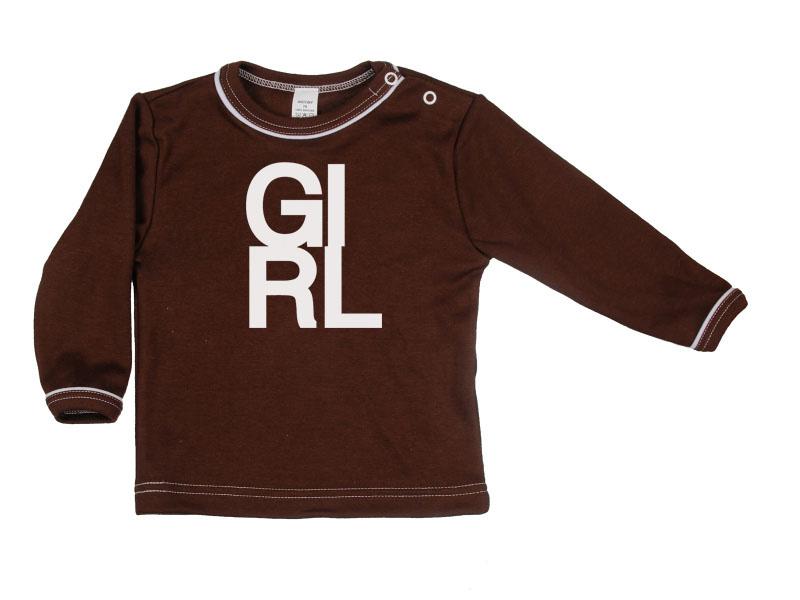 Tričko dlhý rukáv - Girl - hnedé - Veľkost: 128