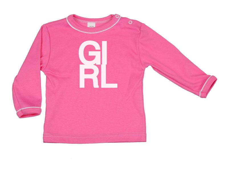 Tričko dlhý rukáv - Girl - tmavoružové - Veľkost: 128