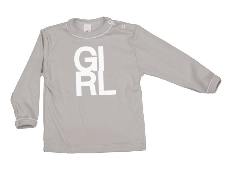 Tričko dlhý rukáv - Girl - šedé - Veľkost: 80
