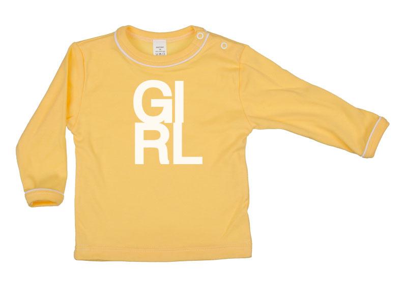 Tričko dlhý rukáv - Girl - tmavožlté - Veľkost: 80