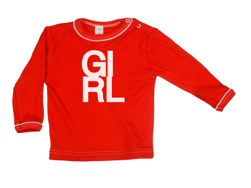 Tričko dlhý rukáv - Girl - červené - Veľkost: 128