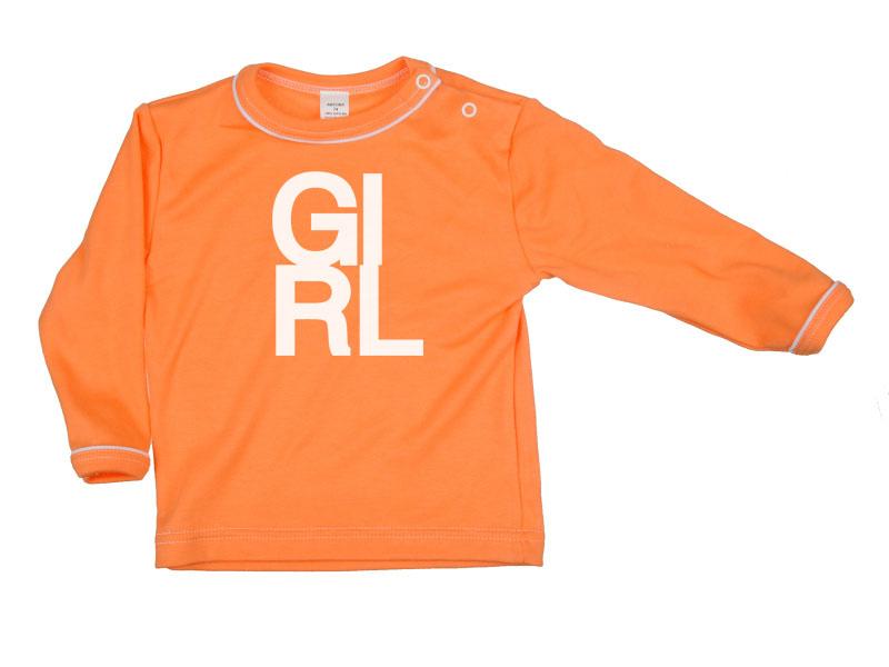 Tričko dlhý rukáv - Girl - oranžové - Veľkost: 128