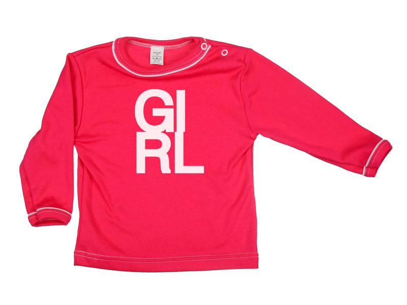 Tričko dlhý rukáv - Girl - malinové - Veľkost: 80