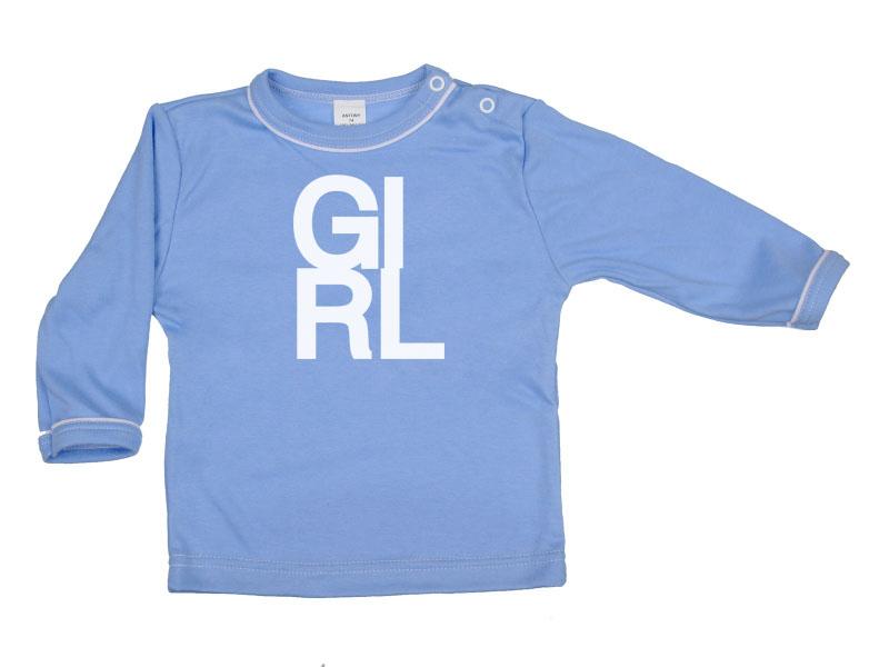 Tričko dlhý rukáv - Girl - modré - Veľkost: 128