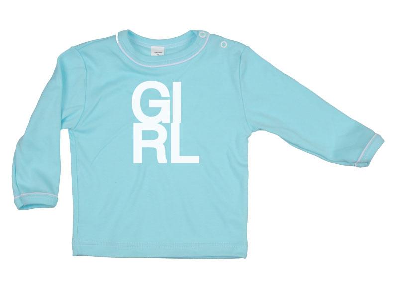 Tričko dlhý rukáv - Girl - tyrkysové - Veľkost: 80