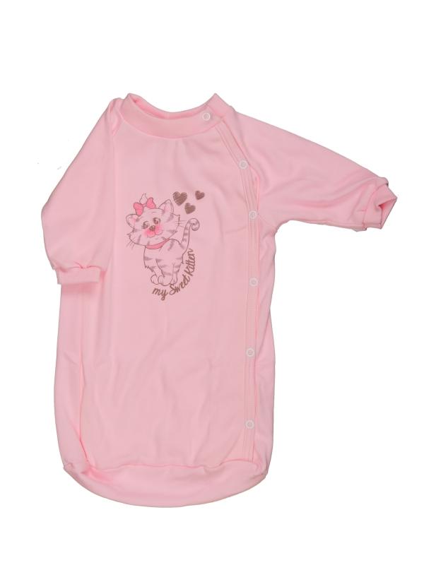 Bavlnený spací vak - Mačička - ružový - Veľkost: 56