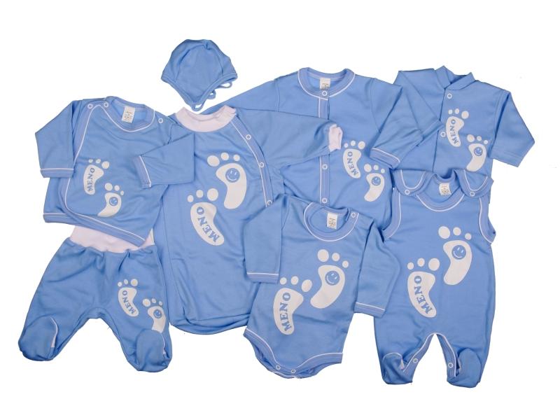 Osemdielna súprava s menom - modrá - Veľkost: 68